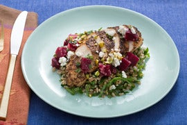 Za'atar Chicken & Farro Salad with Beet, Goat Cheese & Pistachios