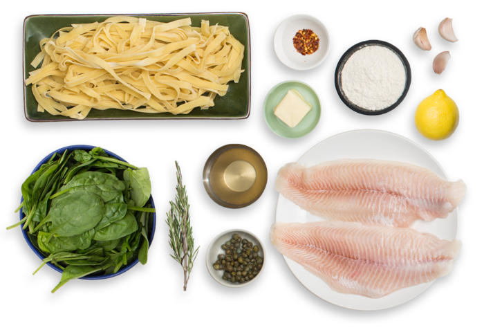 Catfish Piccata & Fresh Fettuccine with Verjus Blanc & Spinach ingredients