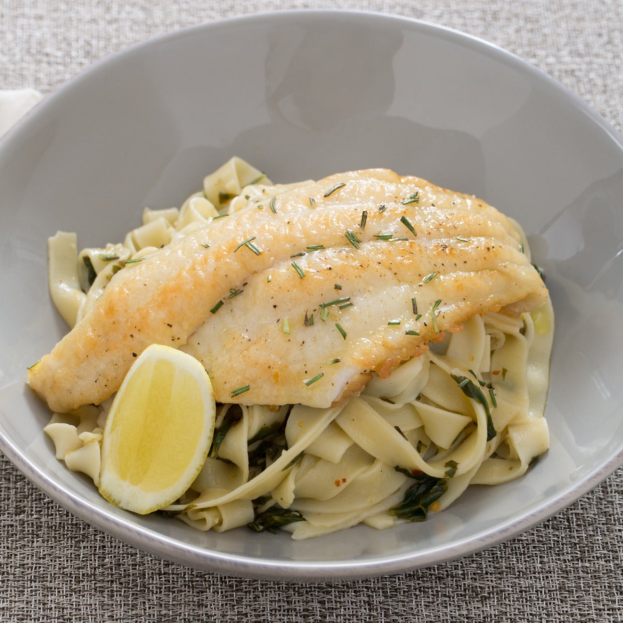 Catfish Piccata & Fresh Fettuccine with Verjus Blanc & Spinach