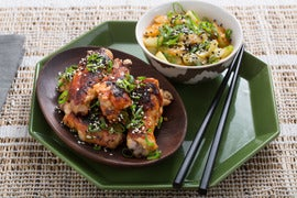 Spicy Korean Chicken Wings with Rice Cakes & Baby Bok Choy