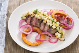 Sumac-Spiced Steak & Honeynut Squash with Pickled Onion & Apple-Walnut Salad