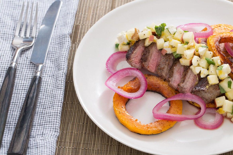 Sumac-Spiced Steak & Honeynut Squash with Pickled Onion & Apple-Walnut Salad