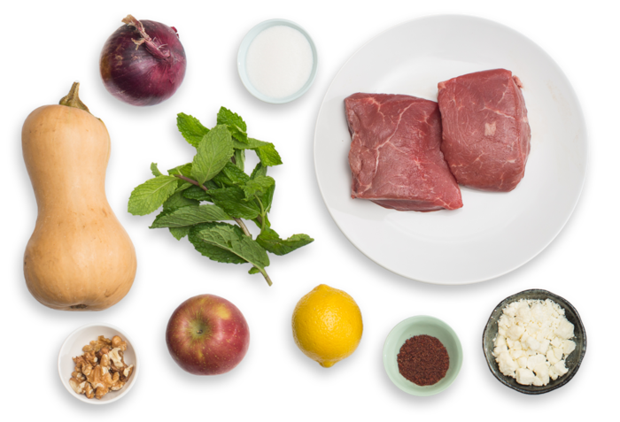 Sumac-Spiced Steak & Honeynut Squash with Pickled Onion & Apple-Walnut Salad ingredients