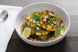 Delicata Squash Red Curry with Black Rice & Thai Basil
