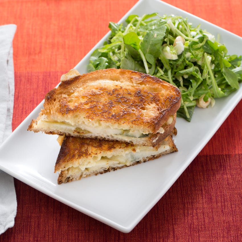 Brie & Pear Grilled Cheese Sandwiches with Brussels Sprout, Arugula & Hazelnut Salad