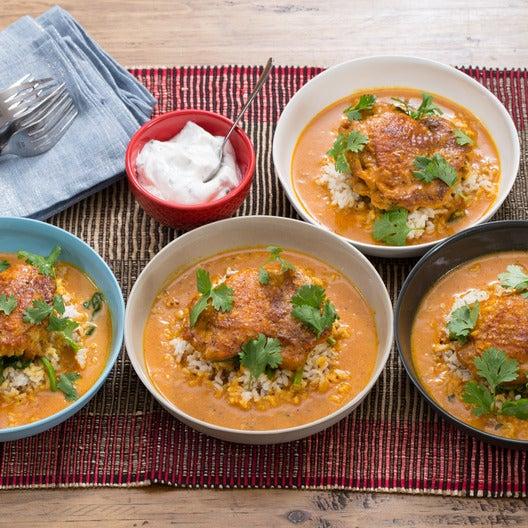 Tandoori Chicken & Brown Rice with Coconut-Tomato Sauce & Mint Yogurt
