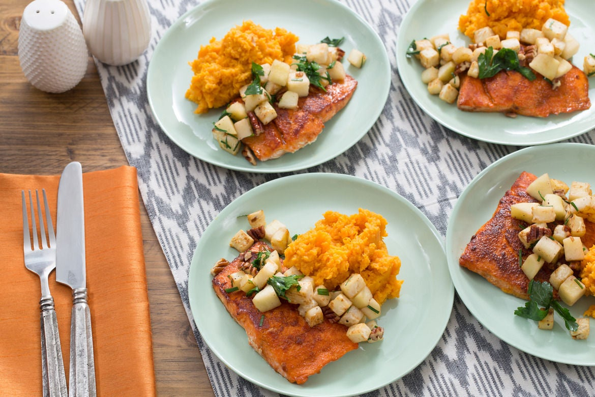 BBQ Salmon & Mashed Sweet Potatoes with Celeriac-Apple Sauté