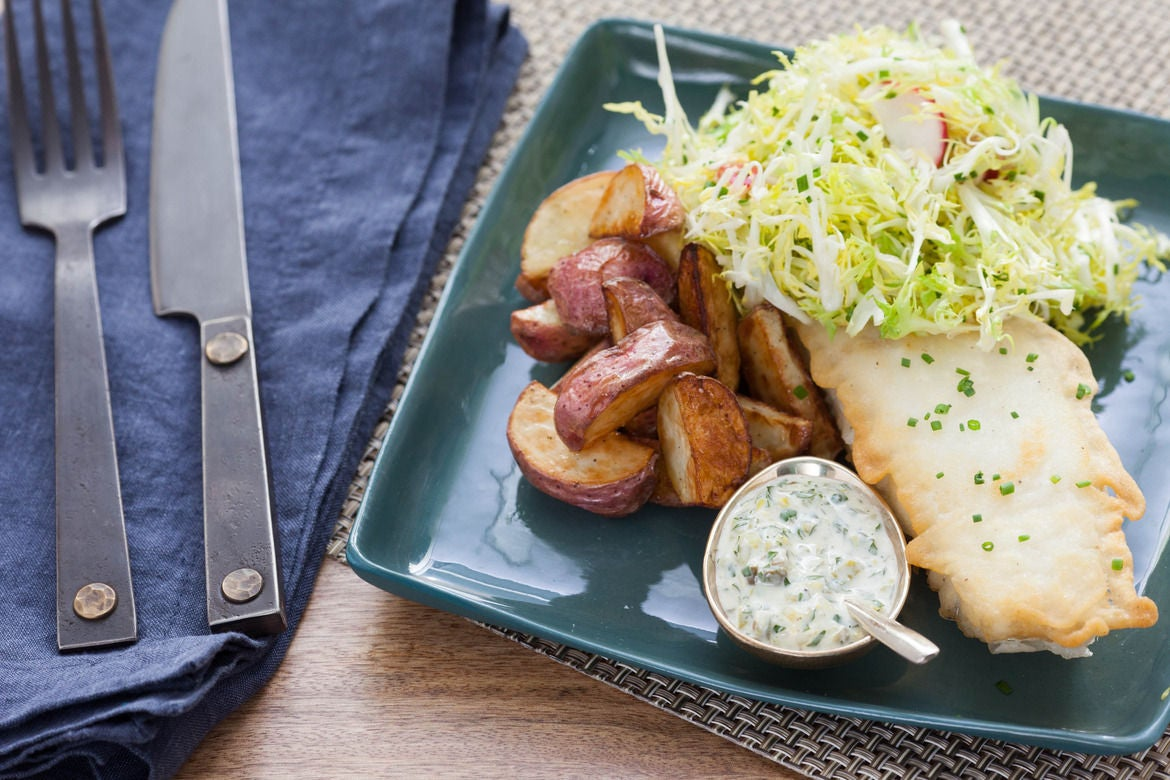 Pan-Seared Cod & Roasted Red Potatoes with Remoulade Sauce & Frisée Salad