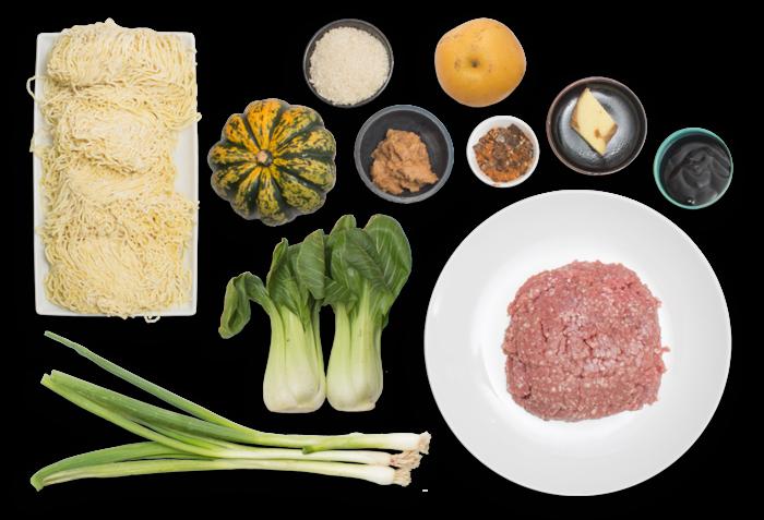 Pork Tsukune Ramen with Baby Bok Choy & Sweet Dumpling Squash ingredients