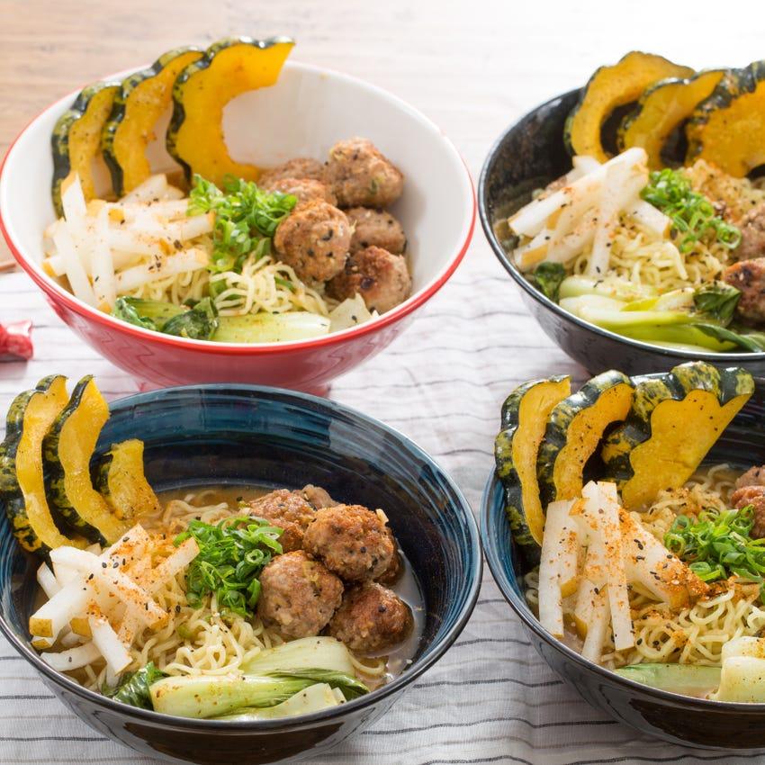 Pork Tsukune Ramen with Baby Bok Choy & Sweet Dumpling Squash