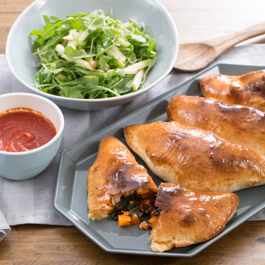 Butternut Squash & Kale Calzones with Arugula & Apple Salad