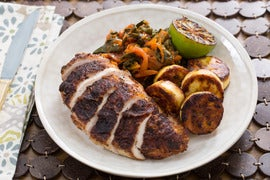 Jamaican Jerk Chicken & Maduros with Stewed Collard Greens & Charred Lime
