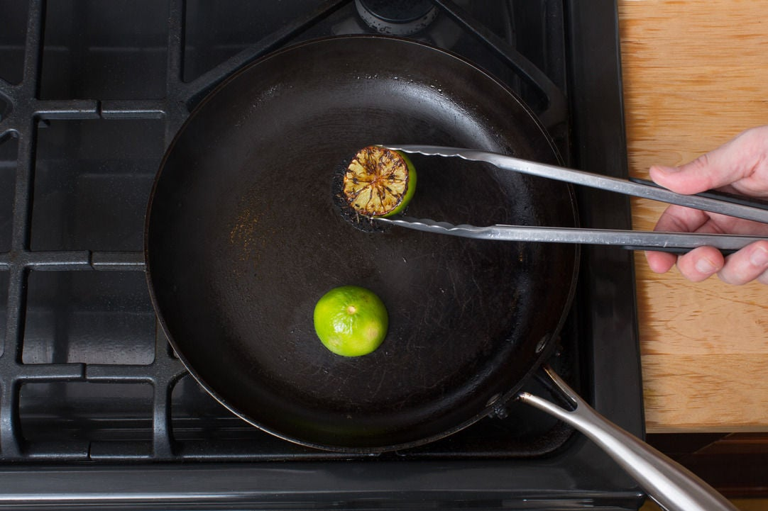 Char the lime & plate your dish:
