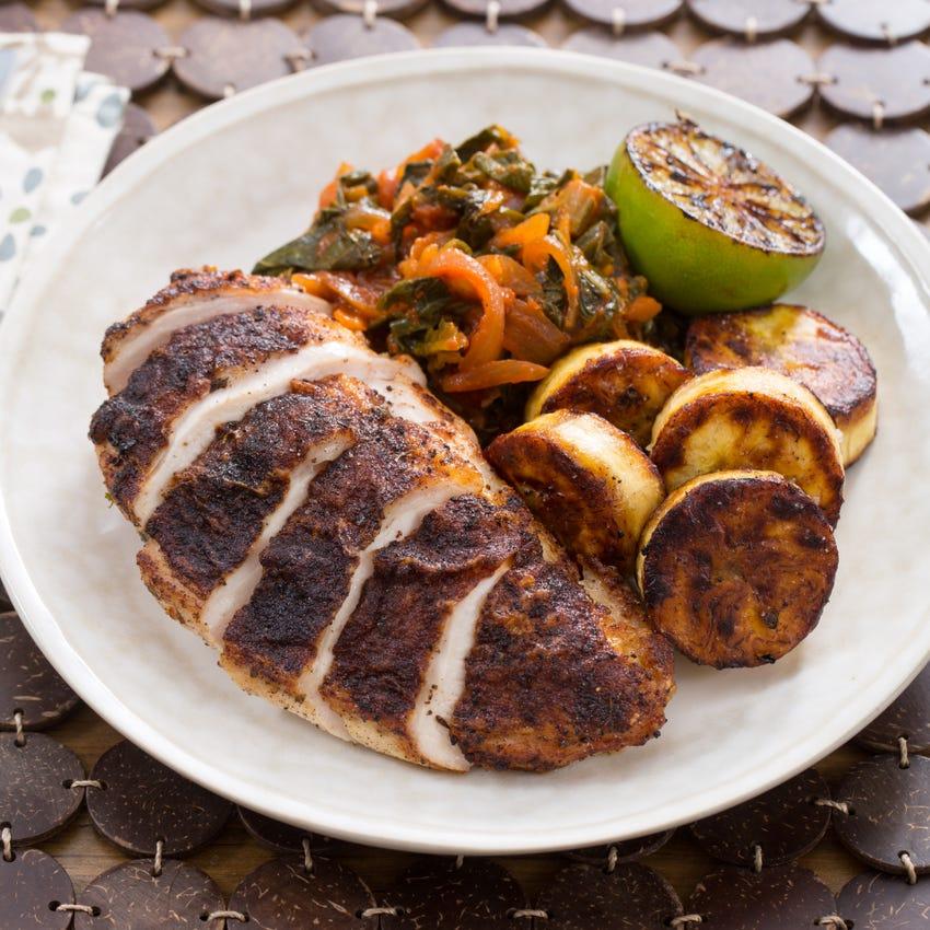 Jamaican Jerk Chicken & Maduros with Stewed Collard Greens & Charred Lime