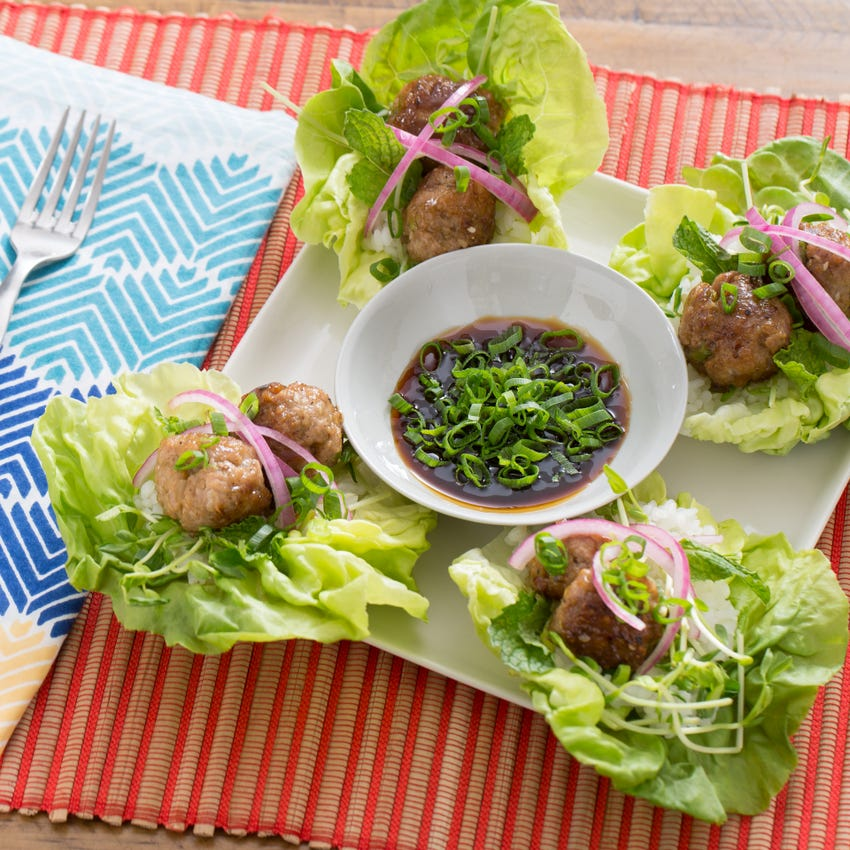 Pork Meatballs in Butter Lettuce Cups with Soy Dipping Sauce & Sticky Rice
