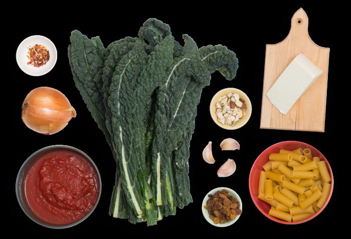 Baked Sicilian-Style Rigatoni  with Lacinato Kale & Ricotta Salata ingredients