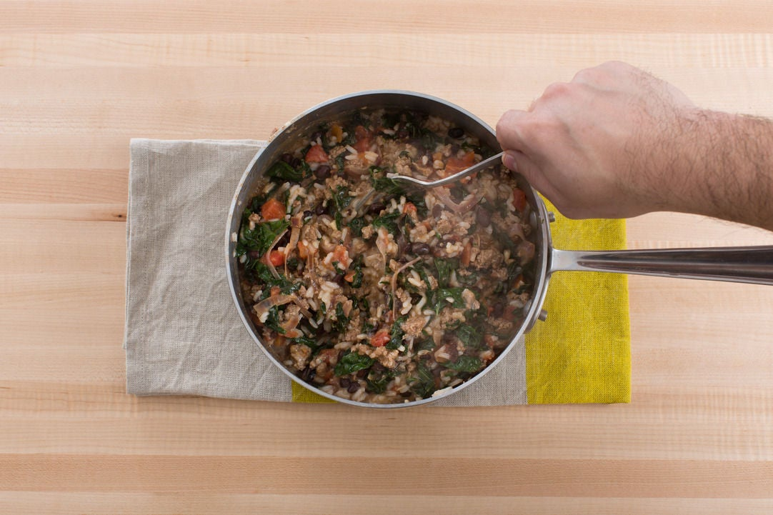 Finish the filling & assemble the casserole: