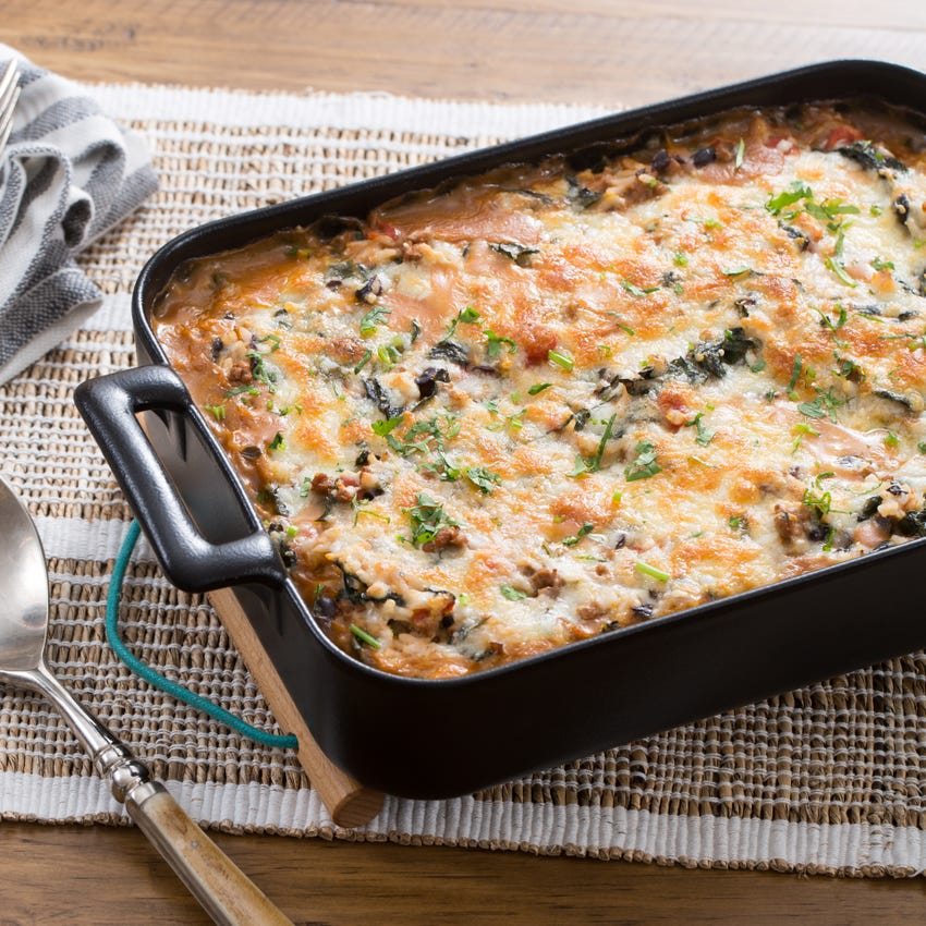 Mexican Chicken & Rice Casserole with Monterey Jack Cheese & Lacinato Kale