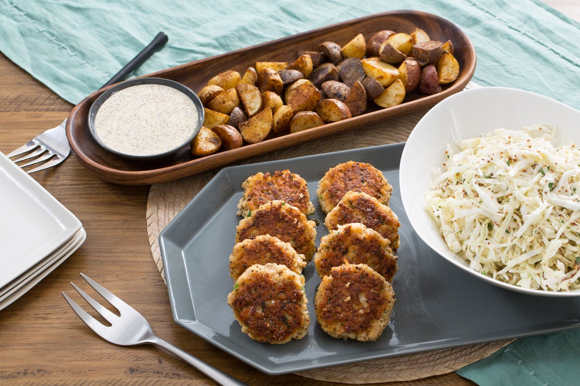 Cod Cakes & Roasted Potatoes with Coleslaw & Dijon Mayo