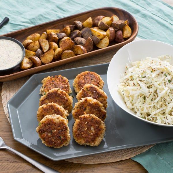 Cod Cakes & Roasted Potatoes with Coleslaw & Dijon Mayo