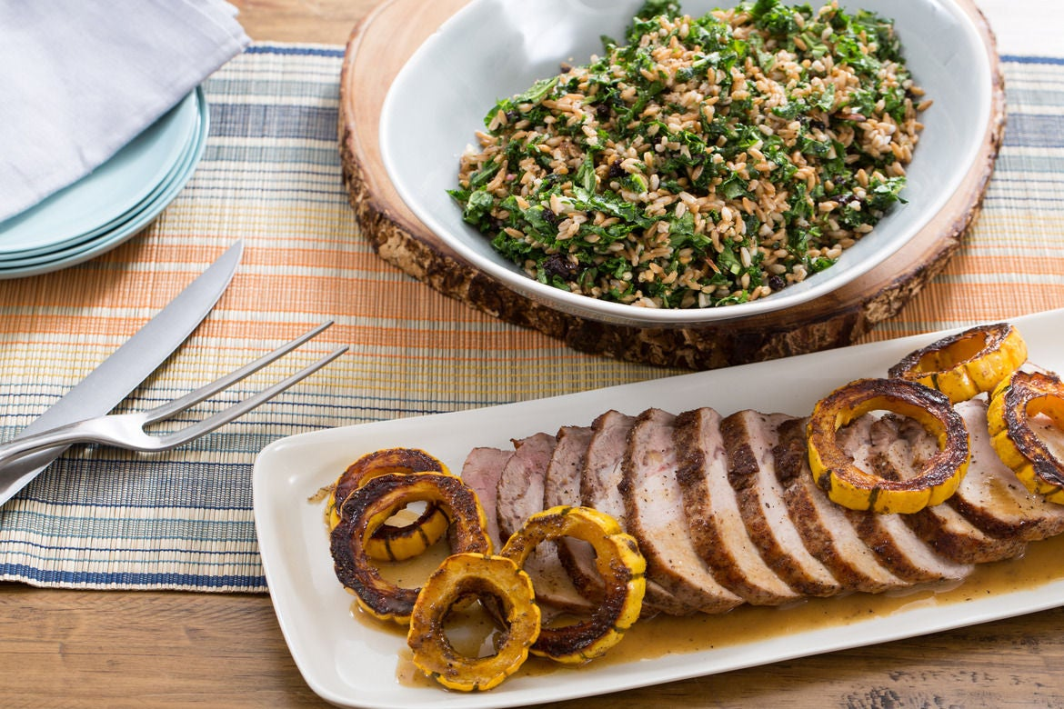 Roasted Pork & Delicata Squash with Warm Farro & Kale Salad