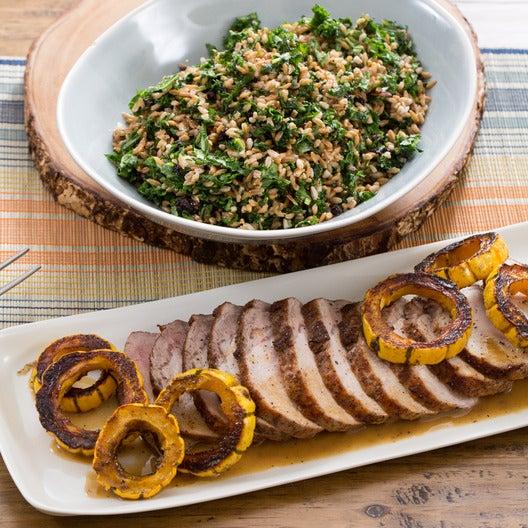 Roasted Pork & Delicata Squash with Warm Farro & Kale Salad