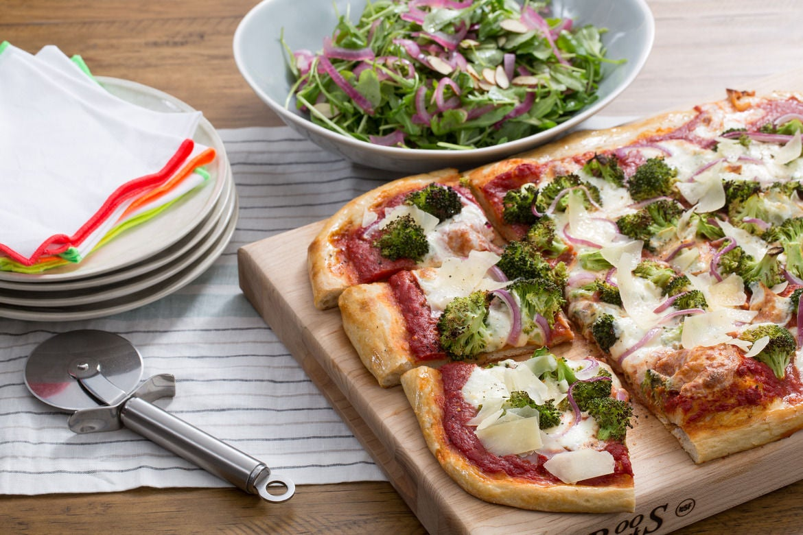 Crispy Broccoli & Red Onion Pizza with Shaved Parmesan & Arugula Salad
