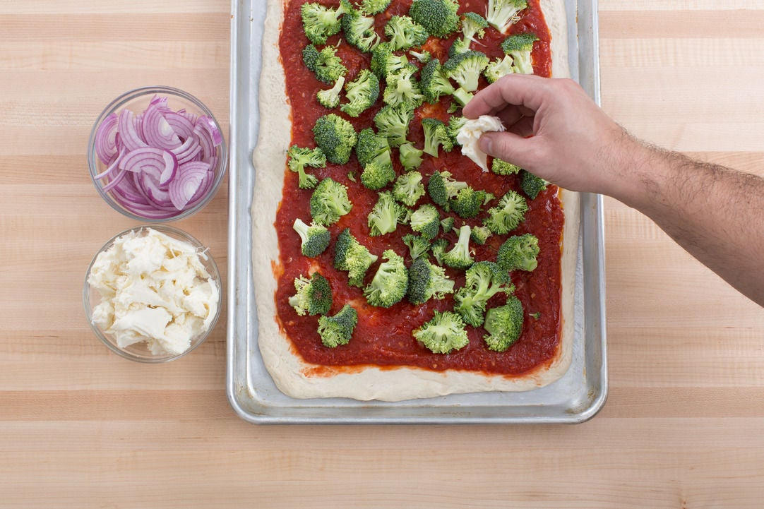 Assemble & bake the pizza:
