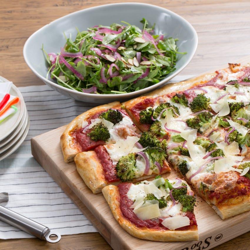 Crispy Broccoli & Red Onion Pizza with Shaved Parmesan & Arugula Salad