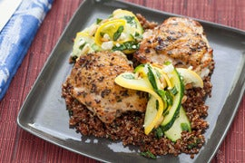 Lemon-Parsley Chicken Thighs with Squash & Zucchini Salad and Red Quinoa