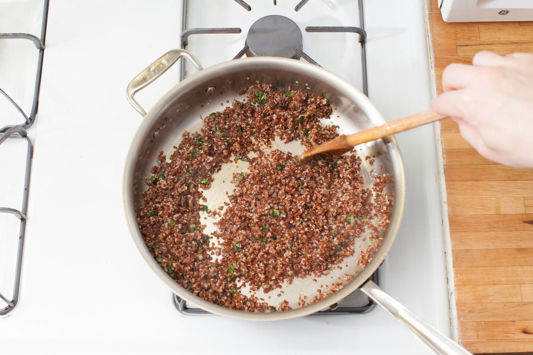 Finish the quinoa & plate your dish: