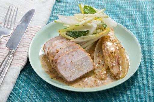 Roast Pork & Braised Endive with Green Apple & Endive Salad