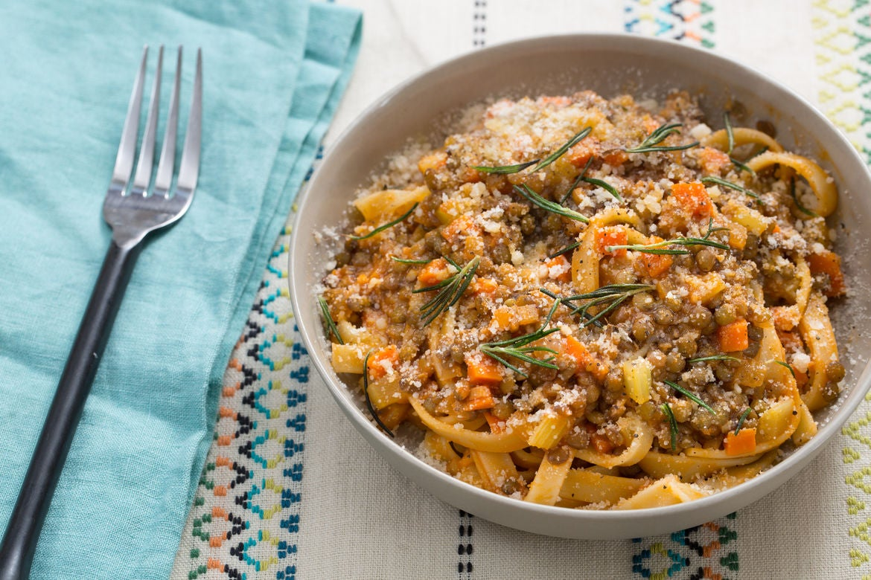 Lentil Bolognese  with Fettuccine Pasta & Crispy Rosemary