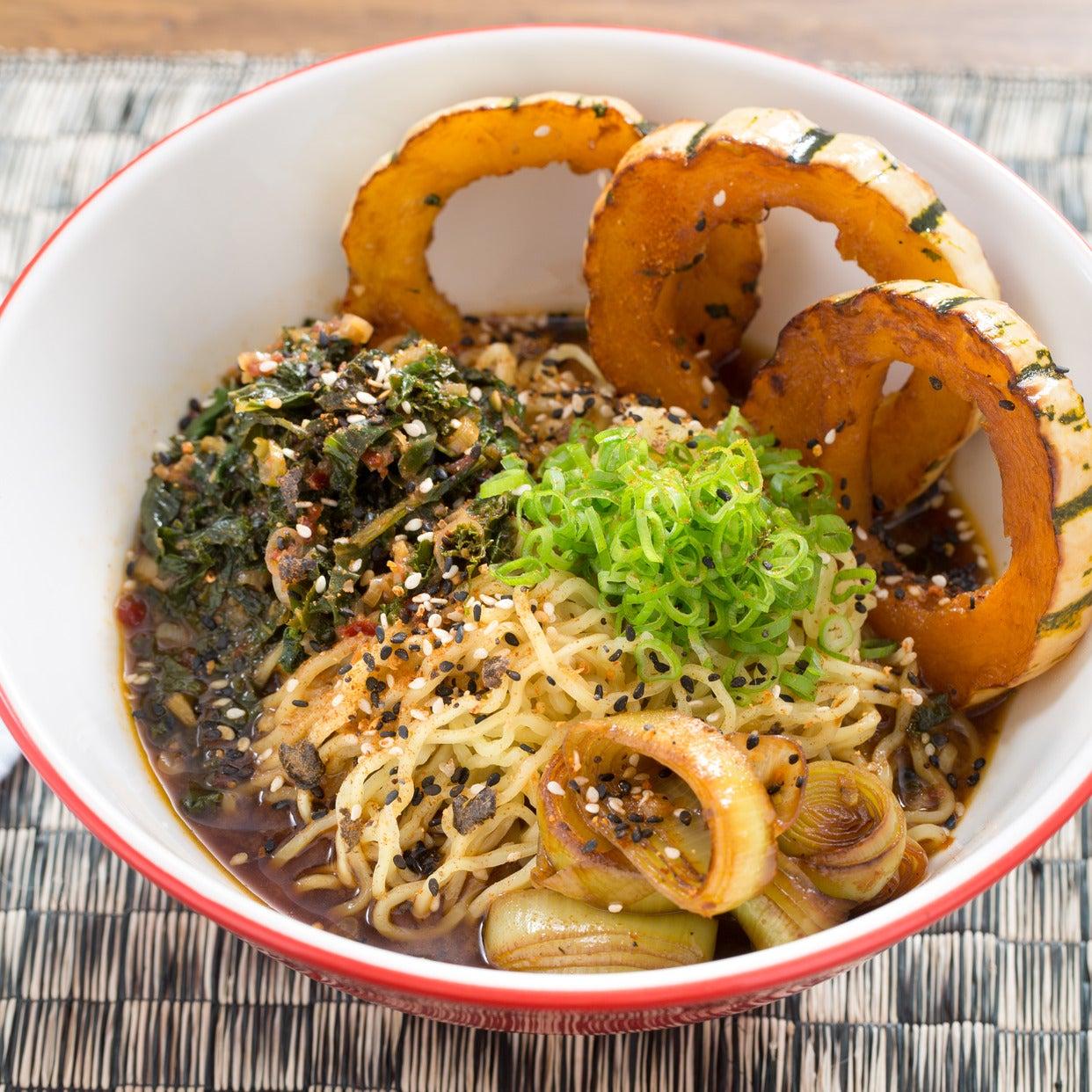 Caramelized Leek & Barley Miso Ramen with Delicata Squash & Fresh Ramen Noodles