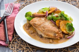 Seared Chicken & Roasted Sweet Potato Rounds with Chestnut & Brussels Sprout Pan Sauce