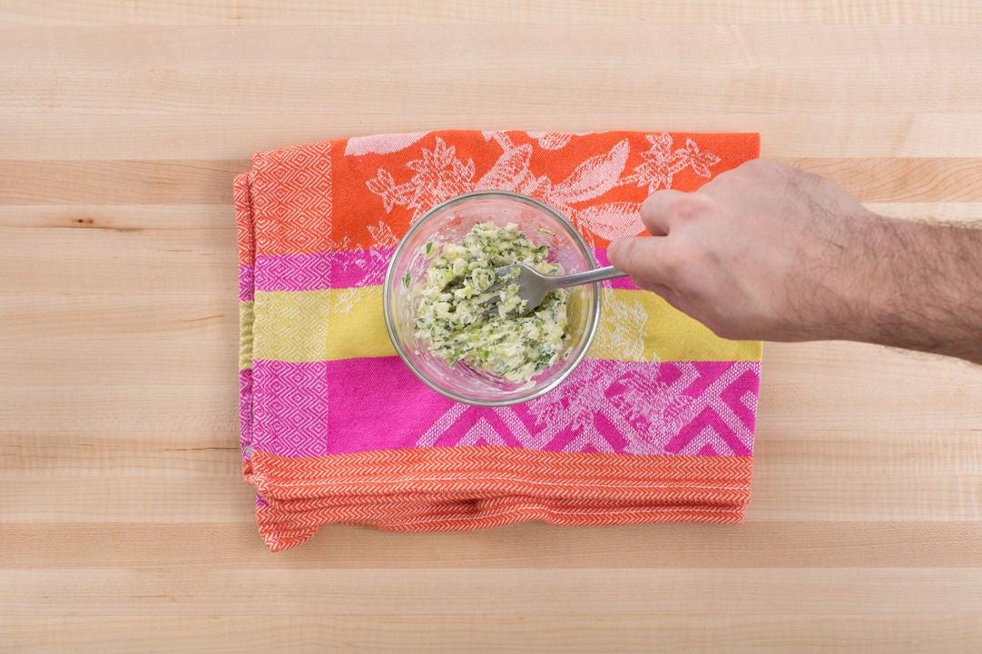 Make the garlic-herb butter: