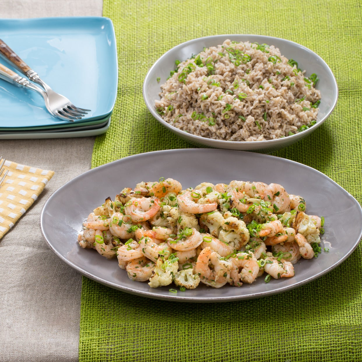 Garlic-Herb Butter Shrimp with Roasted Cauliflower & Brown Rice