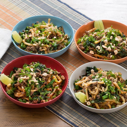 Stir-Fried Beef & Udon Noodles with Gai Lan & Thai Basil