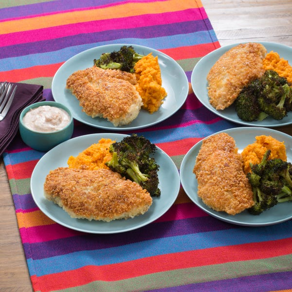 Crunchy Parmesan Chicken with Roasted Broccoli & Mashed Sweet Potatoes