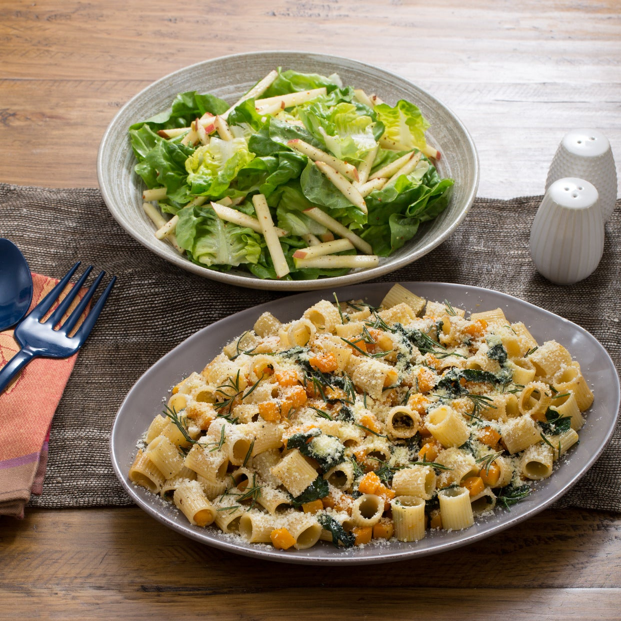 Butternut Squash & Kale Rigatoni with Crispy Rosemary & Butter Lettuce-Apple Salad