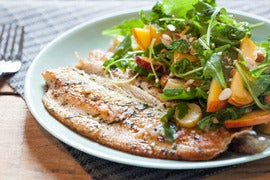 Seared Trout with Peach and Arugula Salad