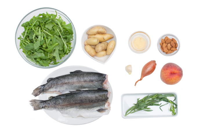Seared Trout with Peach and Arugula Salad ingredients