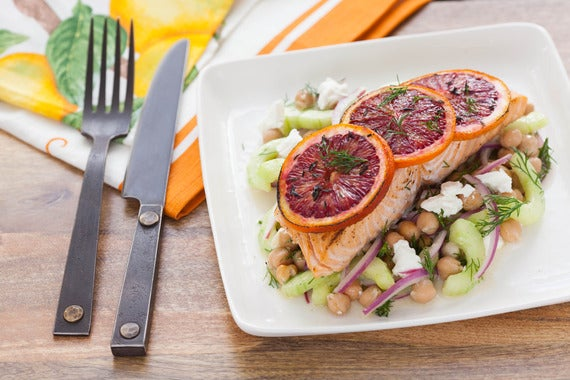 ... Orange Roasted Salmon with Chickpea & Cucumber Salad - Blue Apron