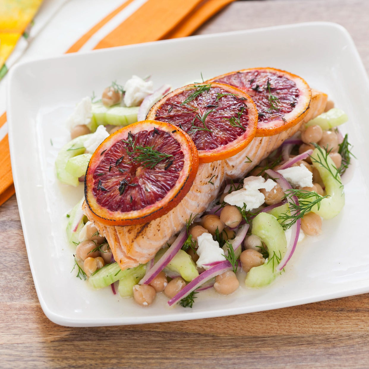 Blood Orange Roasted Salmon with Chickpea & Cucumber Salad