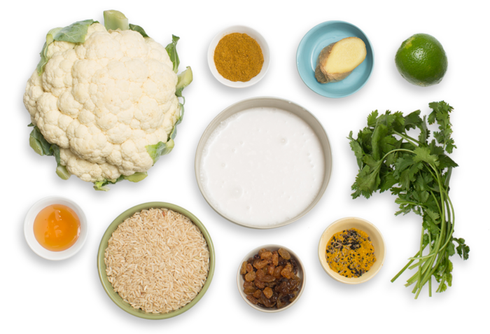 Coconut Curry-Braised Cauliflower  with Aromatic Basmati Rice & Cilantro Chutney ingredients