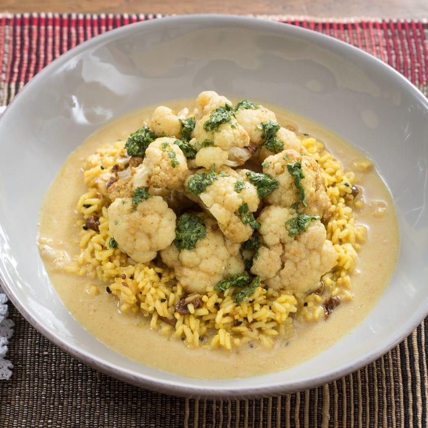 Coconut Curry-Braised Cauliflower with Aromatic Basmati Rice & Cilantro Chutney