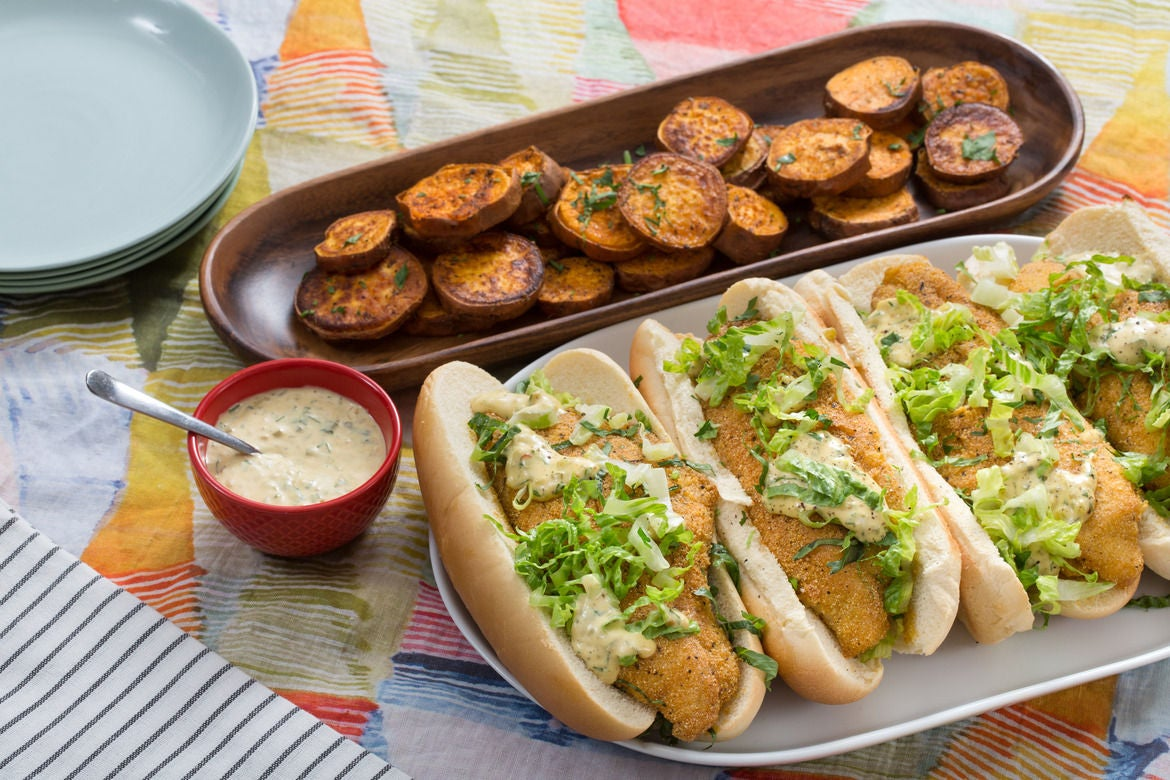 Catfish Po' Boy Sandwiches with Cajun Sweet Potatoes & Remoulade