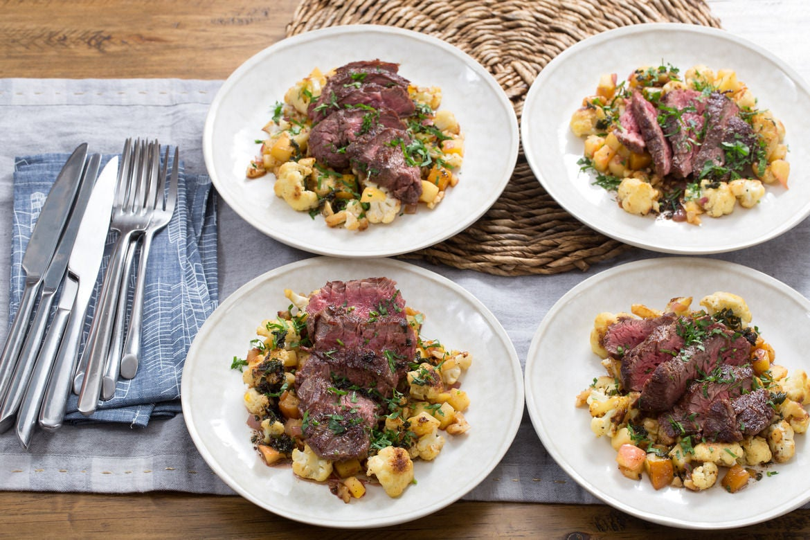 Seared Steaks & Sage Brown Butter with Cauliflower, Beet & Apple Hash