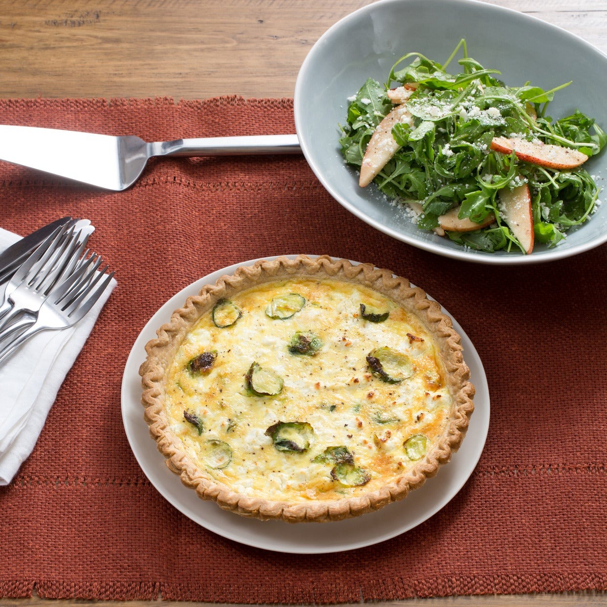 Fall Vegetable & Goat Cheese Quiche with Arugula-Pear Salad & Lemon Vinaigrette