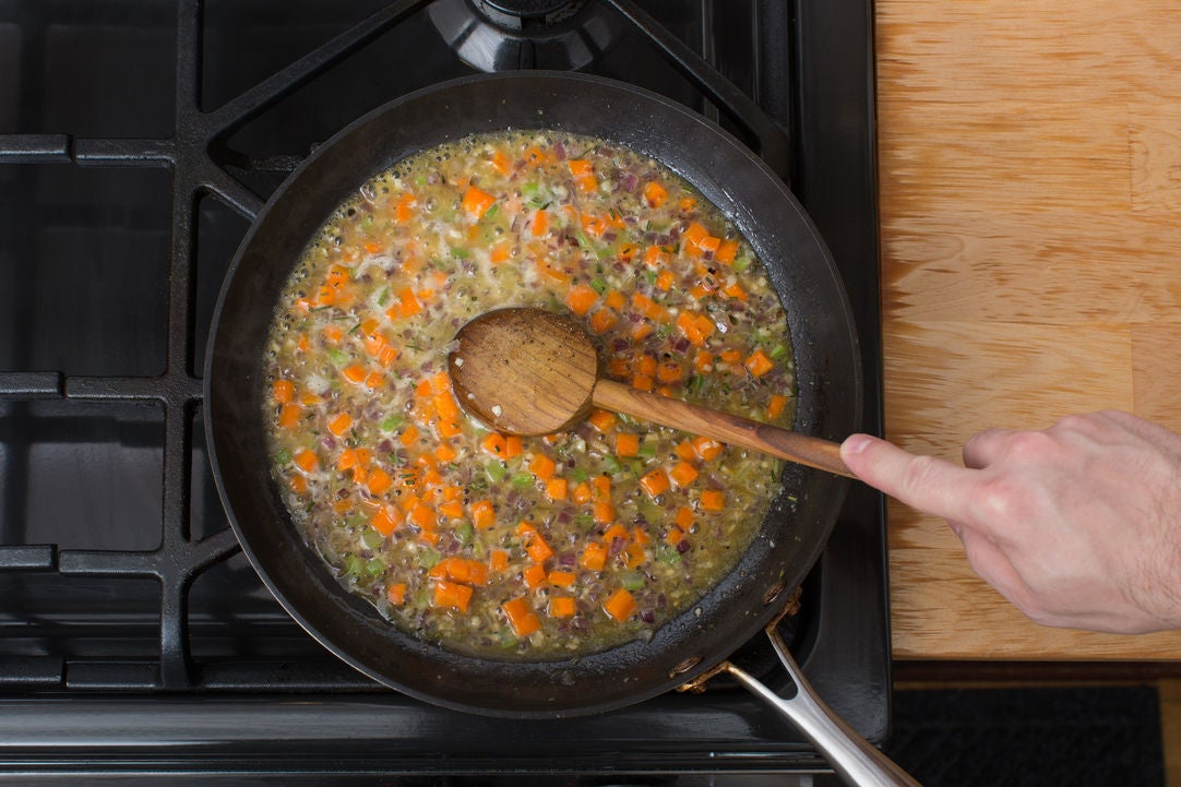 Cook the vegetables & make the stuffing: